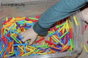 Plastic Straws Sensory Bin