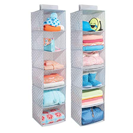 mDesign Soft Fabric Over Closet Rod Hanging Storage Organizer with 6 Shelves for Child/Kids Room or Nursery - Polka Dot Pattern - 2 Pack - Light Gray with White Dots
