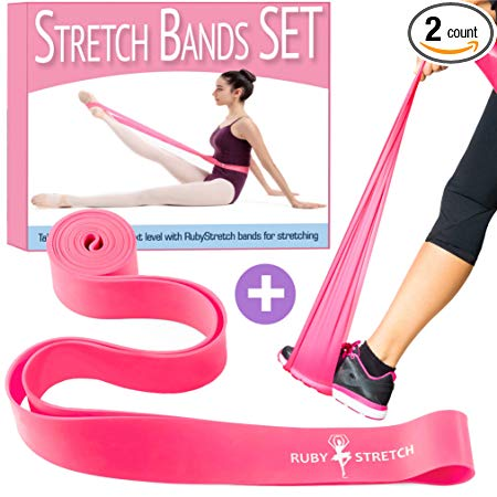 Stretch Bands for Dance and Ballet - Exercise Resistance Band Set for Dance - 2 Resistance Bands for Stretching, Dance and Gymnastics – Gift Box + Instructions + Travel Bag