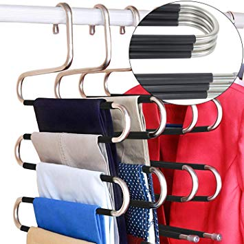 DOIOWN Pants Hangers 5 Pieces Non Slip Space Saving Hangers Stainless Steel Clothes Hangers Closet Organizer for Pants Jeans Scarf(Upgrade Style)