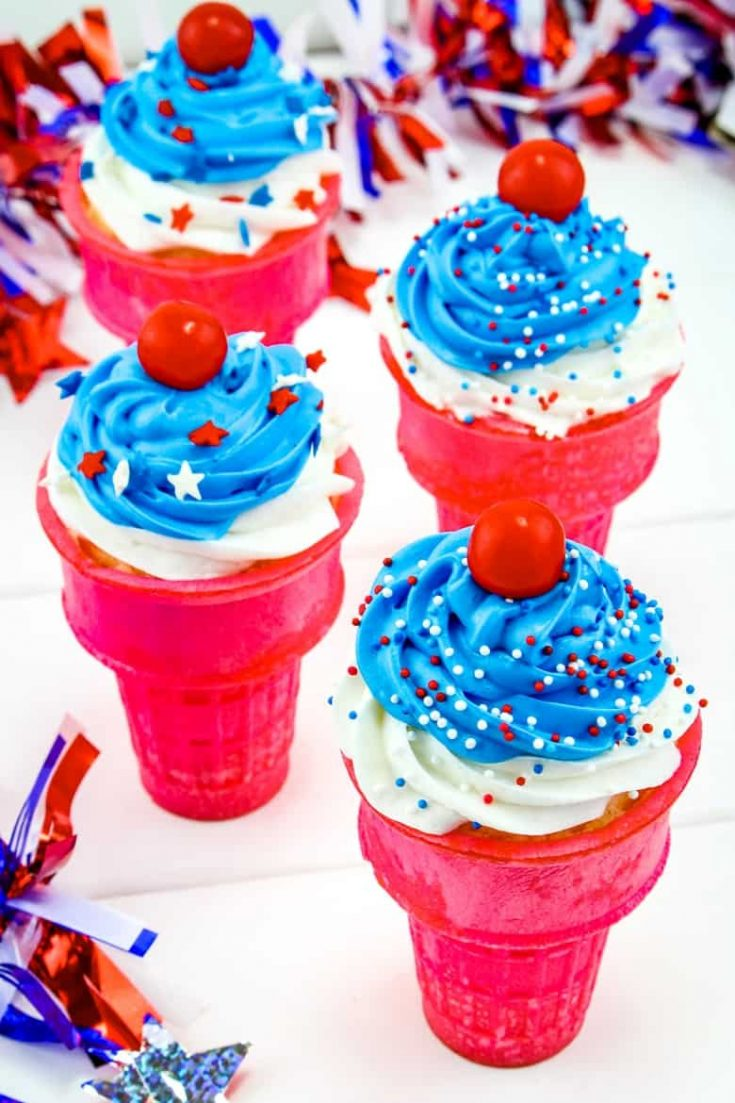 Easy 4th of July Ice Cream Cone Cupcakes