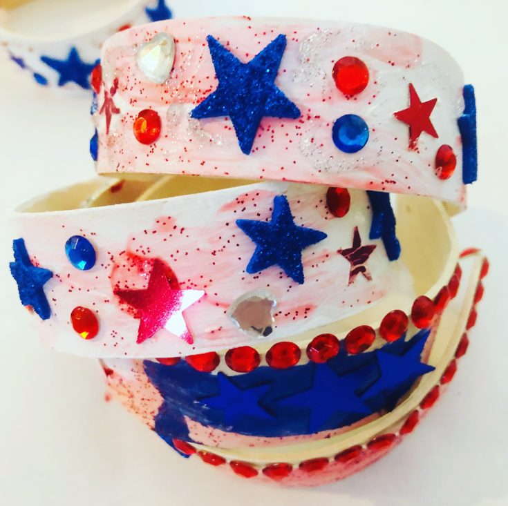 Patriotic Popsicle Stick Bracelet Craft for Kids
