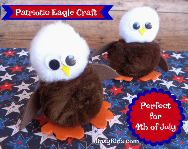 Patriotic Eagle Craft with Pom Poms – Perfect for 4th of July!