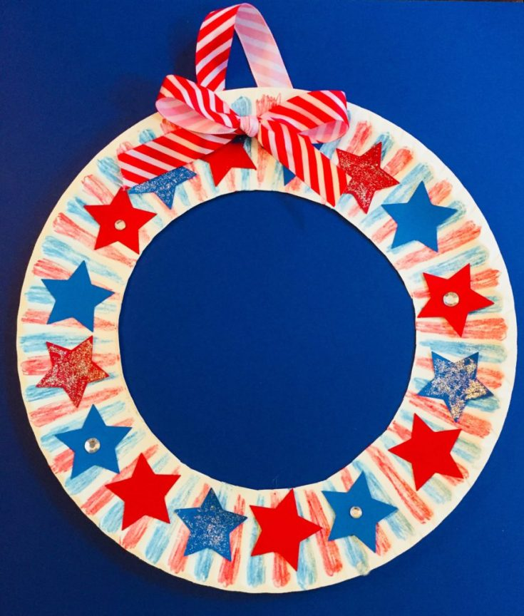 Patriotic Star Wreath Paper Plate Craft