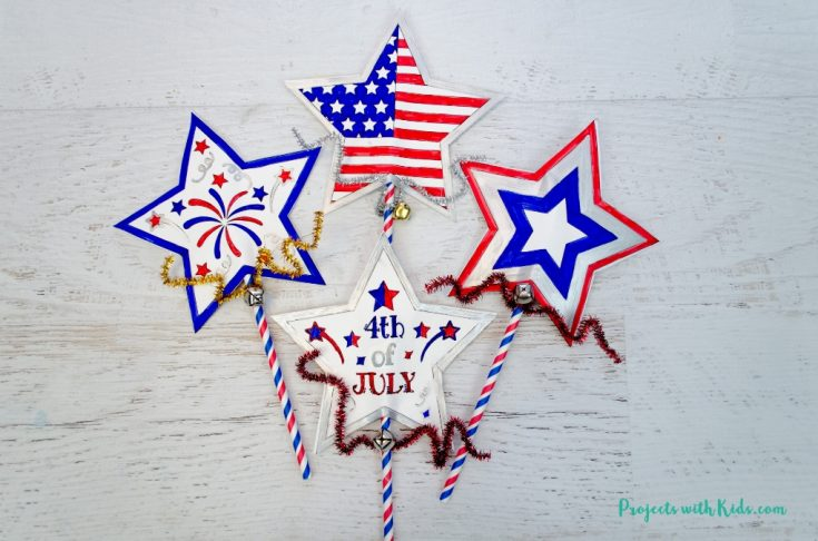4th of July Printable Wand Craft for Kids to Make