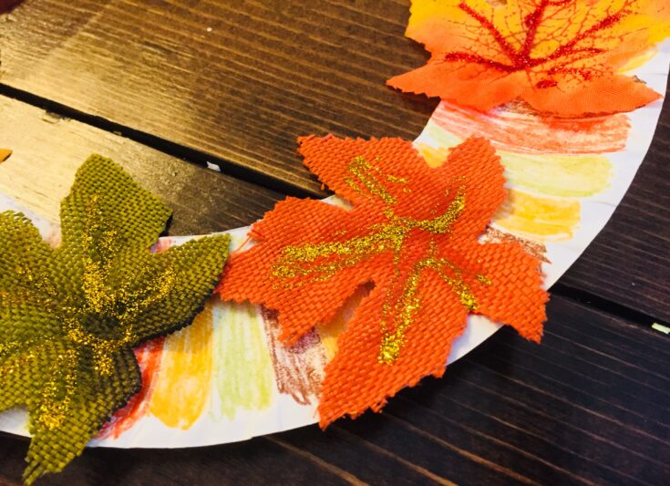Fall Leaves Paper Plate Wreath Craft
