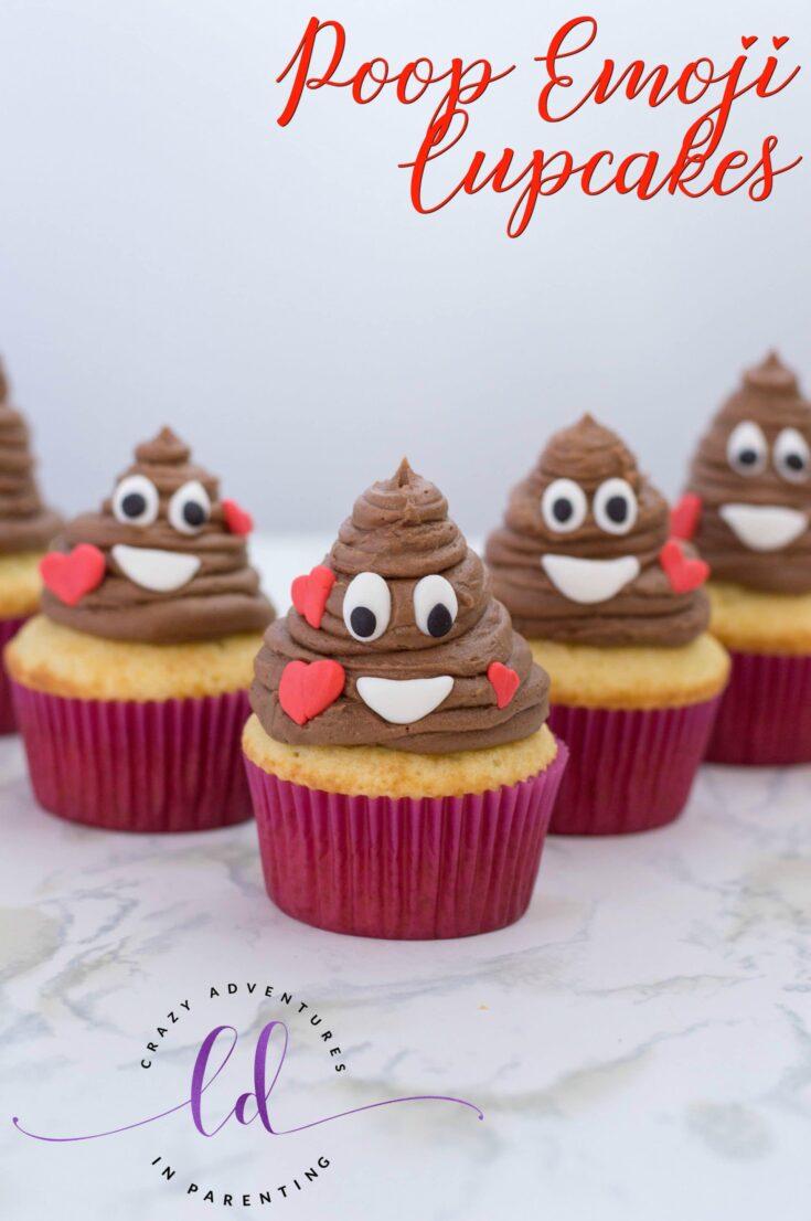 Poop Emoji Cupcakes with Nutella Filling