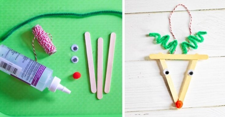 Reindeer Christmas Ornament with Popsicle Sticks DIY