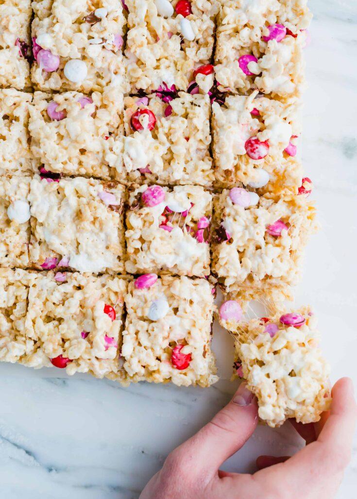 Valentine's Day M&M Rice Krispie Treats