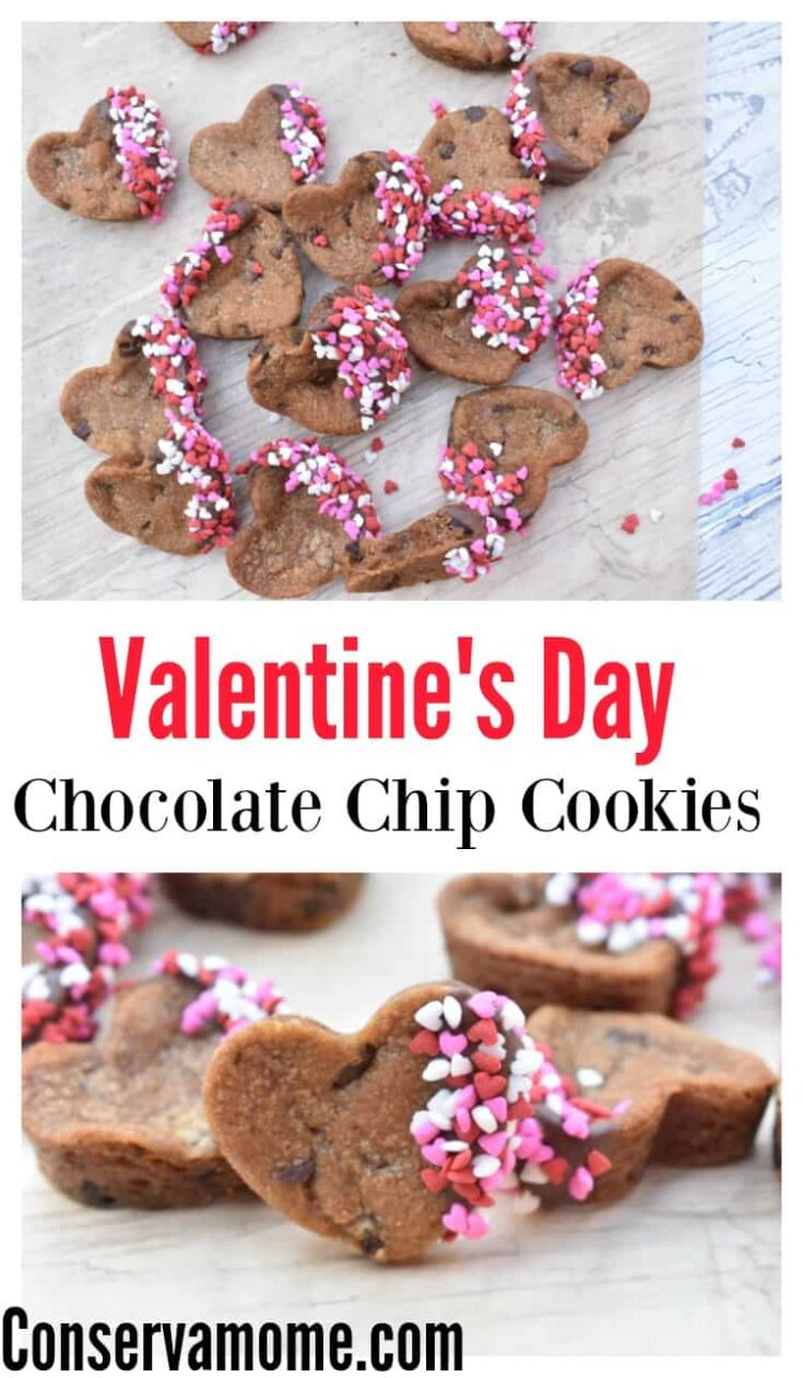 Valentine's Day Chocolate Chip Cookies - Heart Shaped Cookie Deliciousness!
