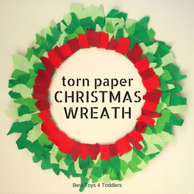 Easy to Make Torn Paper Christmas Wreath