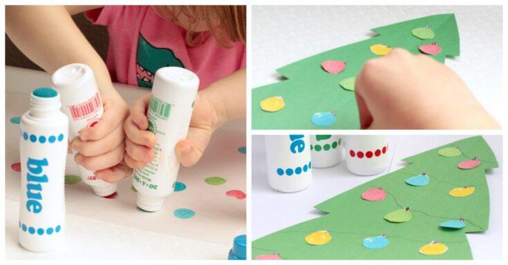 Christmas Crafts for Kids: Dot Marker Christmas Tree Lights Craft