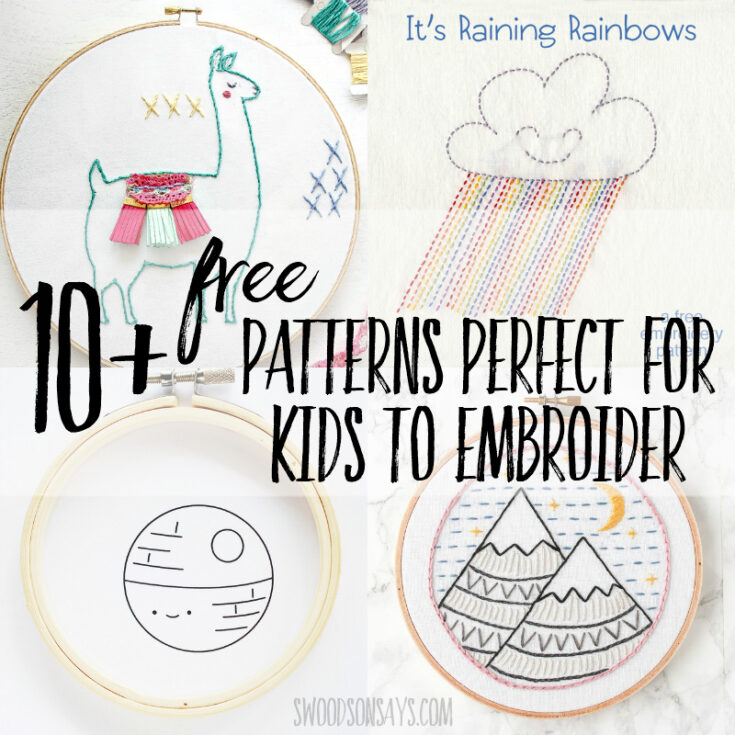 10 Free simple embroidery patterns for kids