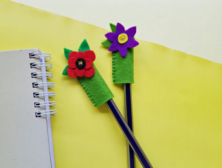 Flower Pencil Toppers Felt Craft